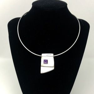 Jewelry - Mother of Pearl  Amethyst Sterling Silver Pendant